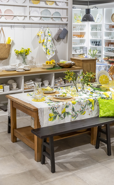 레몬 프린트 테이블보
