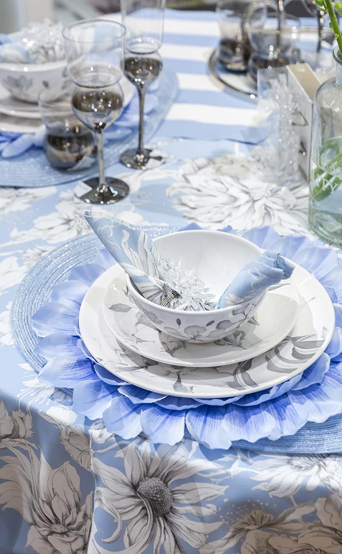 블루 플라워 테이블 매트