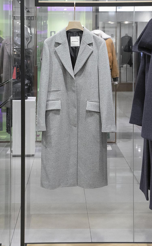 그레이 울 솔리드 H라인 싱글 코트(BF9X30C133)