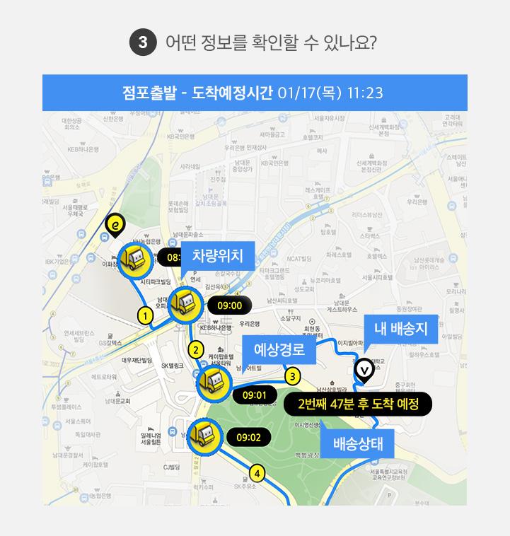 3. 어떤 정보를 확인할 수 있나요? 도착예정시간, 차량위치, 내 배송지, 예상경로, 배송상태
