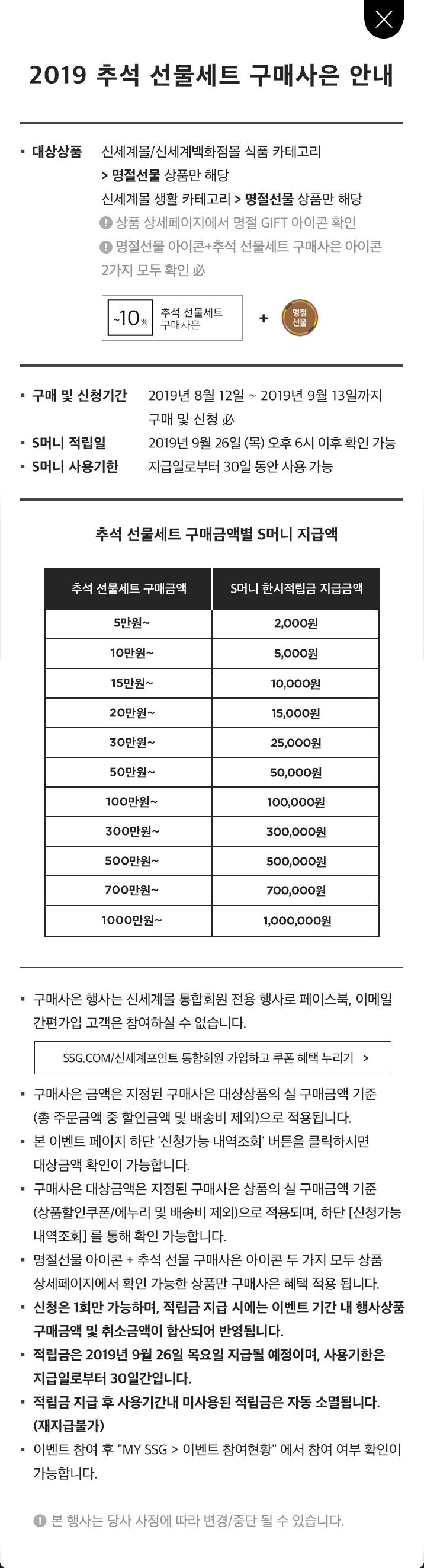 (팝업) 2019 추석 선물세트 구매사은 안내